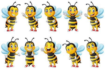 Cartoon cute bee character set. vector illustration