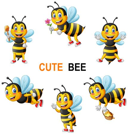 Cartoon cute bee set. vector illustration Foto de archivo - 129710499