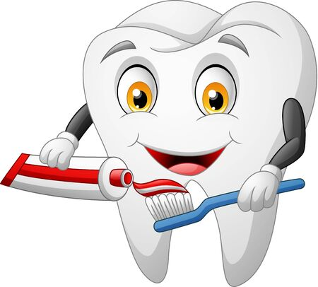 Cartoon tooth, toothbrush and toothpaste. vector illustration