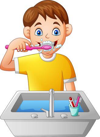 Cartoon Junge Zähneputzen. Vektor-Illustration Vektorgrafik