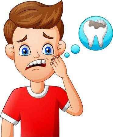 Cartoon child toothache. vector illustration