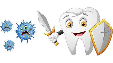 Cartoon tooth with shield vs germ. vector illustration Foto de archivo - 129710507