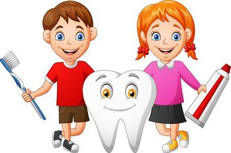 Cute cartoon boy, girl and teeth. vector illustration Foto de archivo - 129710515