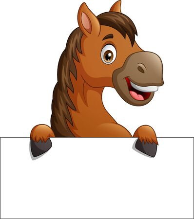 Cartoon brown horse with blank sign board. vector illustration Çizim