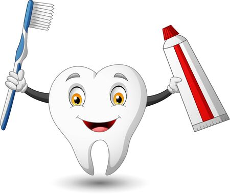 Funny cartoon tooth with toothbrush and toothpaste. vector illustration