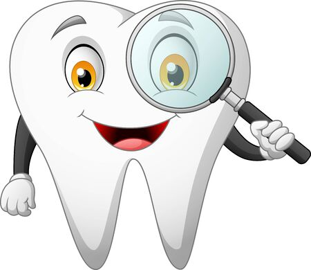 Cartoon teeth holding magnifier. vector illustration