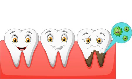 Cartoon normal and unhealthy tooth. vector illustration Illustration