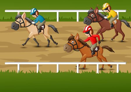 Horse racing cartoon. vector illustration 일러스트