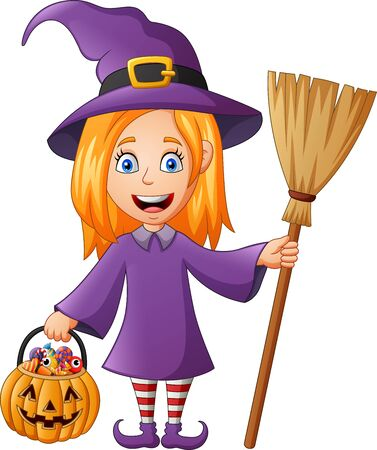 Cartoon character witch costume kid holding pumpkin. vector illustration Foto de archivo - 129710529