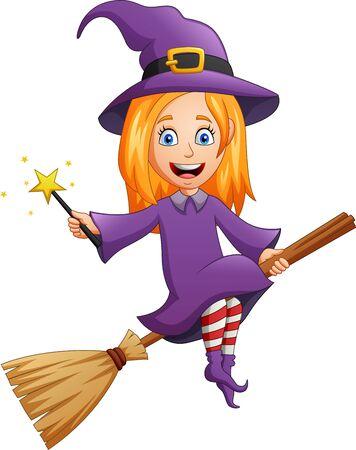 Disfraz de bruja de personaje de dibujos animados de Halloween con varita de sujeción. ilustración vectorial