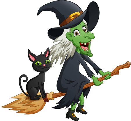 Halloween cartoon witch and cat with flying broom. vector illustration