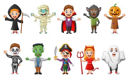 Set of cute halloween cartoon costumes children. vector illustration