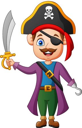 Happy pirate cartoon. vector illustration Иллюстрация