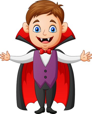 Halloween kid vampire cartoon. Vector illustration