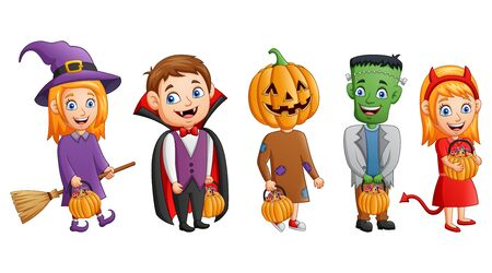 Set of halloween cartoon costumes children holding pumpkin. vector illustration Иллюстрация