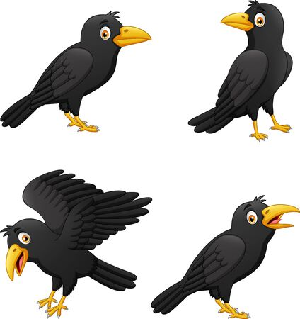 Set of cartoon crow with different expressions. vector illustration