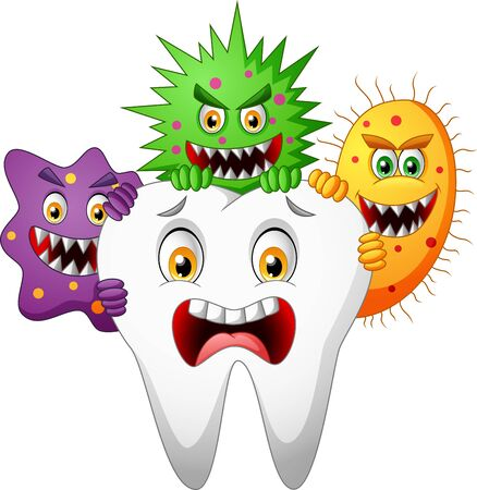 Cartoon tooth attacked by germ. Illustration