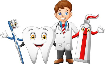 Happy doctor cartoon, teeth, toothpaste and toothbrushes. Illustration