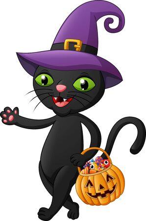 Halloween cat cartoon bring pumpkin. Illustration