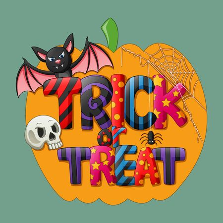 Trick or treat. Halloween poster background card. Illustration