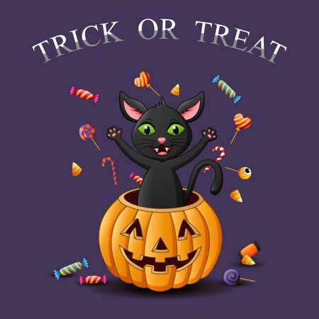 Trick or treat. Cute halloween cat. Illustration