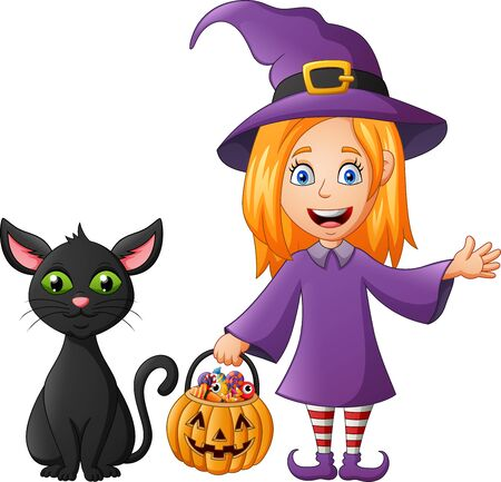 Cartoon witch costume kid holding pumpkin and black cat. Illustration Foto de archivo - 129710649