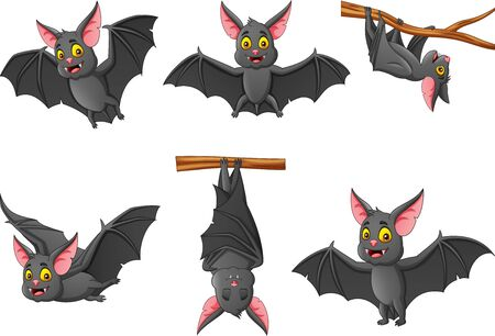 Set of cartoon bat with different expressions. Illustration
