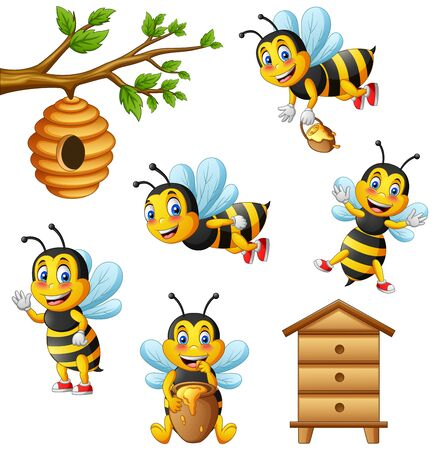 Cartoon cute bee and beehive. Illustration Foto de archivo - 129710725