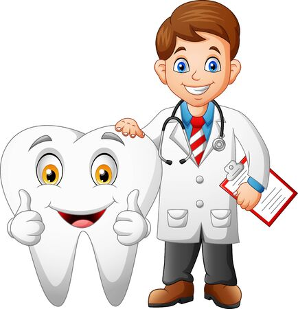 Cartoon funny doctor and tooth. Illustration
