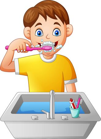 Cartoon boy brushing teeth. Illustration