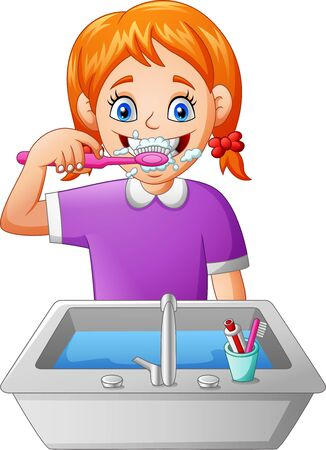 Cartoon girl brushing teeth. Illustration
