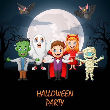 Halloween party. Cartoon little children in halloween costume. Vector illustration