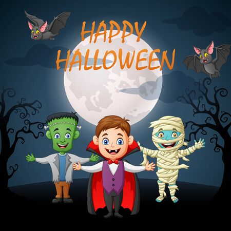 Happy halloween. Cartoon little children in halloween costume. Vector illustration