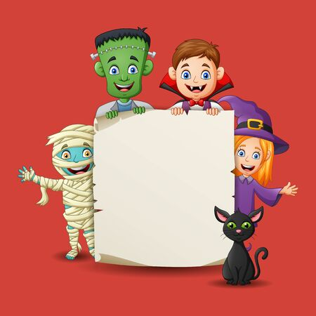 Cartoon little children in halloween costumes with space for your copy. Vector illustration