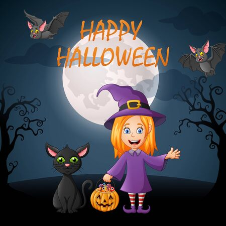 Happy Halloween. Cartoon little witch and black cat. vector illustration