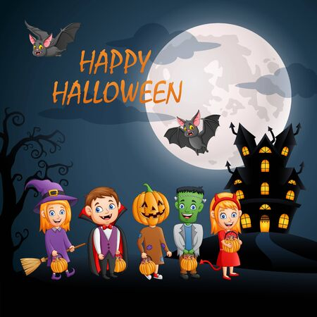 Halloween Background. Set of cute cartoon children in halloween costumes. Vector illustration