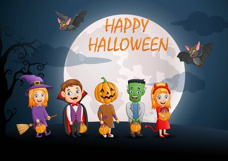 Happy halloween.Set of cute cartoon children in halloween costumes. Vector illustration