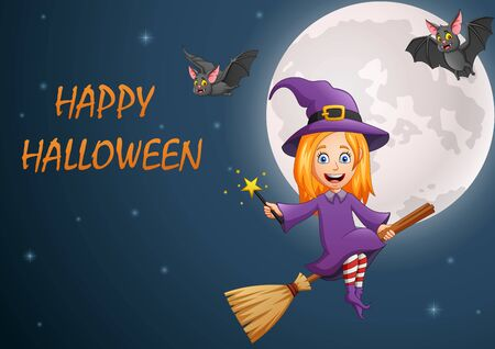 Happy Halloween. Cartoon little witch flying on a broomstick. vector illustration Foto de archivo - 129784546