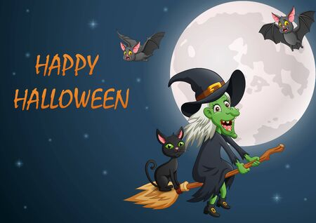 Happy Halloween. Cartoon witch flying on a broomstick. Illustration Фото со стока