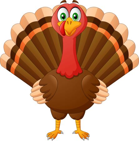 Cartoon Thanksgiving Turkey Bird Mascot Character. Vector Illustration
