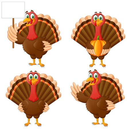 Set of Cartoon Thanksgiving Turkey Bird Mascot Character. Vector Illustration Иллюстрация