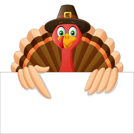 Cartoon Thanksgiving Turkey Bird Mascot Character Holding A Blank Sign. Vector Illustration