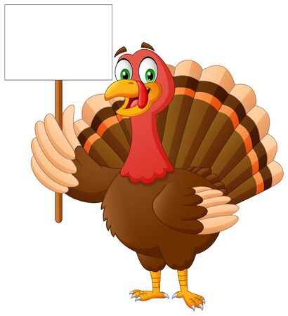 Cartoon turkey holding blank banner. Vector Illustration Foto de archivo - 132056721