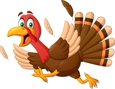 Escape cartoon turkey. Vector Illustration