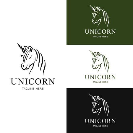 Set of Logo unicorn design.Vector Illustration