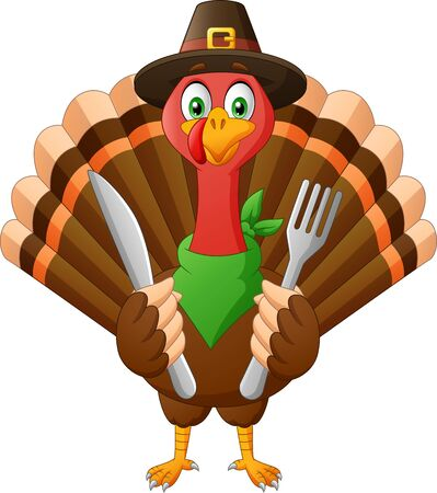 Cartoon Turkey Bird Mascot Character holding fork and knife. Illustration