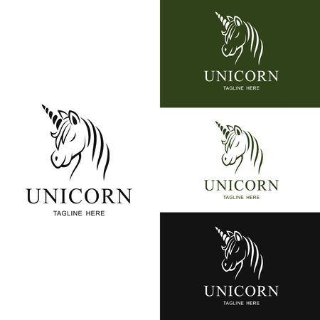 Set of Logo unicorn design. Illustration