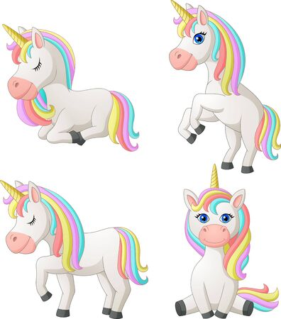 Set of Cartoon Unicorn. Illustration