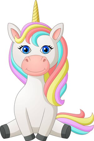 Cute Cartoon Unicorn. Illustration