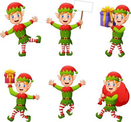 Set di elfi bambini personaggio dei cartoni animati isolato su priorità bassa bianca. Illustrazione vettoriale